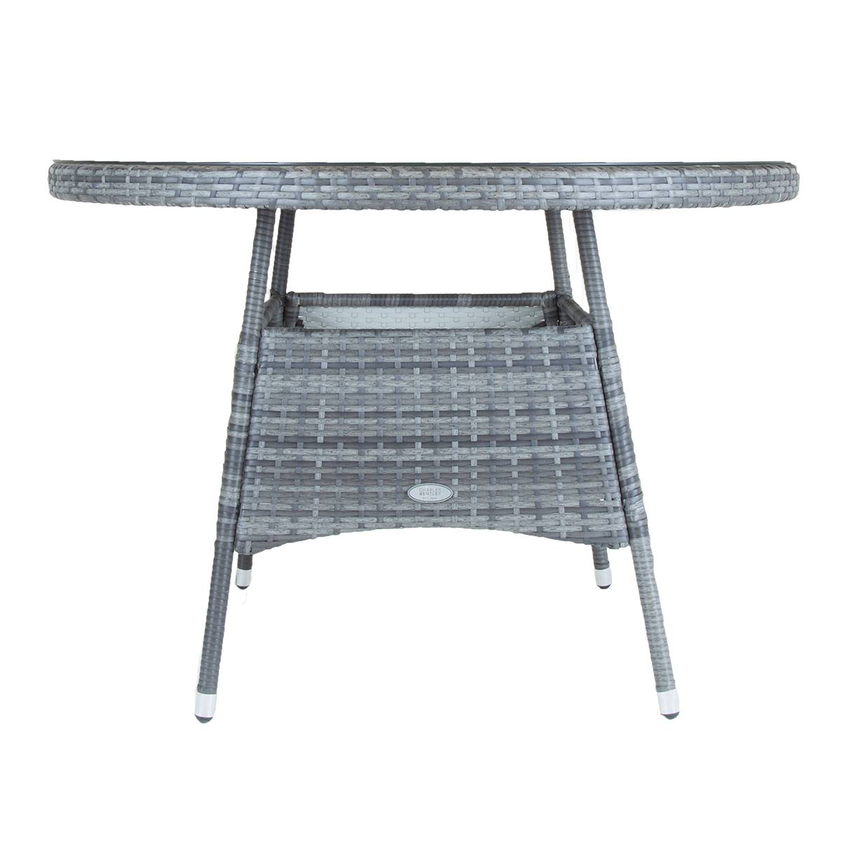 thumbnail 3 - Charles Bentley 4 Seater Round Rattan Dining Table - Grey / Natural